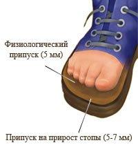 Выбор размера детской обуви