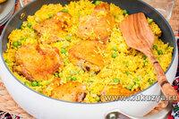 Рис басмати  с курицей и зеленым горошком